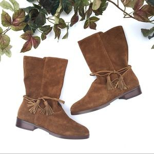 Land's End Tan Suede Tassel Boots 8.5